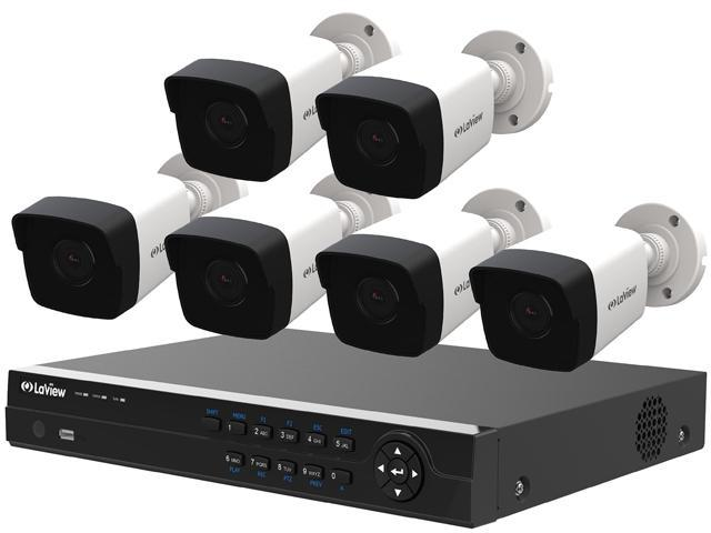 LaView LV-KNT984A42W4 4MP Zoom HD 8 Channel NVR PoE IP Security System,  with 2pcs 4MP (2688 x 1520p) and 4pcs 2MP (1920 x 1080p) Bullet Camera (No  HDD