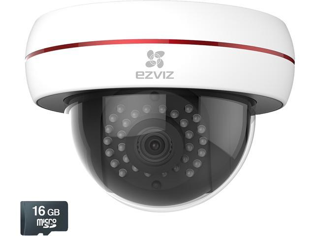 EZVIZ Husky HD 1080p Outdoor Wi-Fi or PoE Video Security Dome Camera, With 16GB MicroSD Included, Works with Alexa and Google Home Using IFTTT (EZHUSKYDMG16)