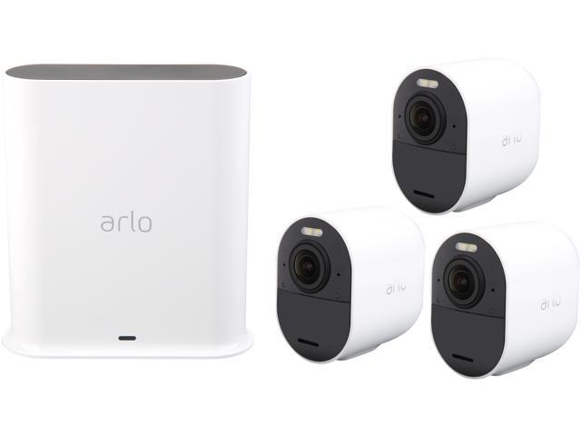 Arlo Ultra 4K UHD Wire-Free 3 Camera System, Indoor/Outdoor Security  Cameras with Color Night Vision, 180° View, 2-Way Audio, Spotlight & Siren,  Works