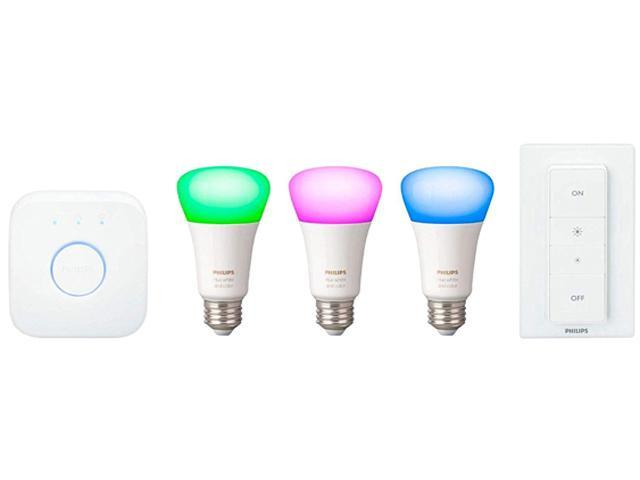 Philips Hue PHI-541789 White & Color Ambiance LED Starter Kit (3-Pack) -  Multicolor with Bridge and Dimmer - Newegg com