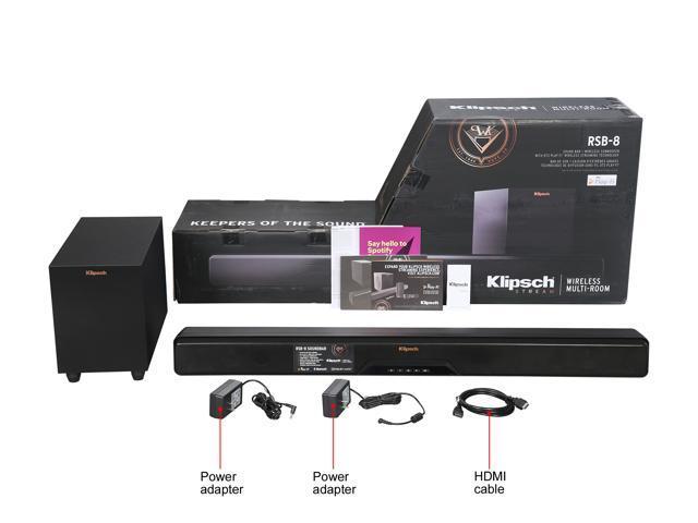 Klipsch RSB-8 Sound bar with 6 5 inch wireless subwoofer, black - Newegg com