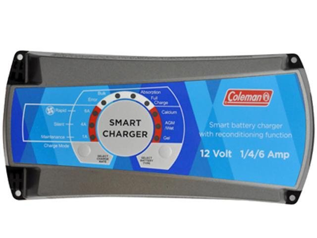 Coleman 12V 1//4//6 Amp Smart Battery Charger With Reconditioning Function 60134