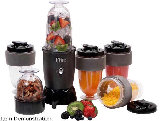 Elite Cuisine EPB-1800 17 Piece Personal Drink Blender with 4 x 16oz. Travel Cups
