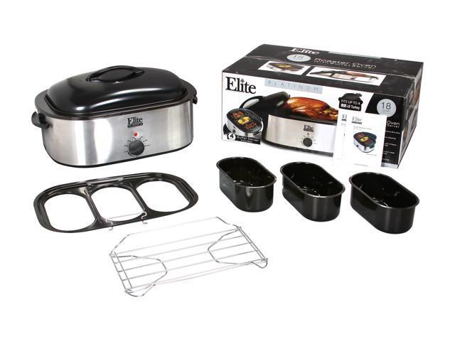 Elite ERO-210B Stainless Steel 18-Quart Roaster Oven w/ buffet server and  removable pot - Newegg com