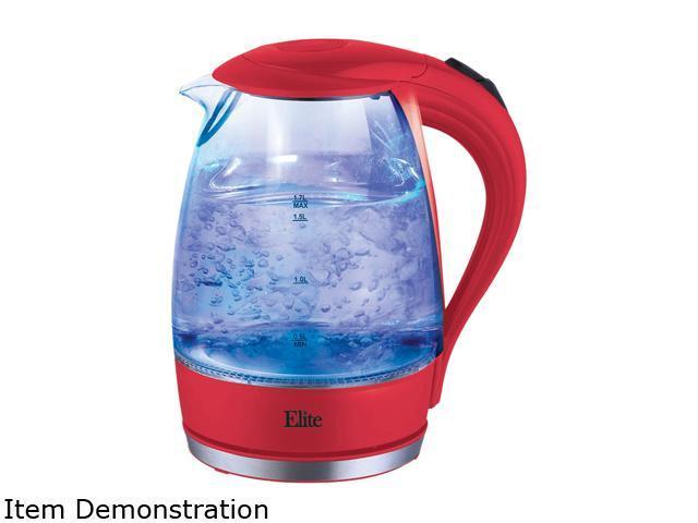 Elite EKT-300R Red Elite Platinum 1 7L Glass Cordless Electric Kettle -  Newegg com