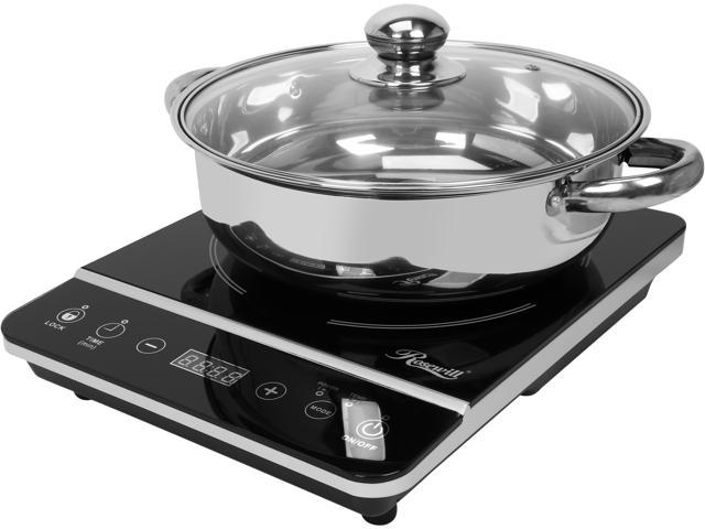 """Image of Rosewill RHAI-13001 Portable Induction Cooktop   1800W Electric Stove Top   Energy Efficient Single Burner Stove   Includes 10"""" 3.5 Qt 18-8 Stainless Steel Pot   Black"""