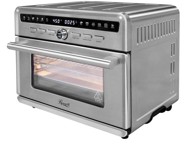 Image of Rosewill RHTO-20001 Air Fryer Convection Toaster Oven, Stainless Steel Exterior, Family Size 26.4 Quart Family Size Capacity, 4 Tray Accessories with Large Transparent Window