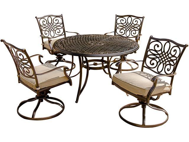 Fantastic Hanover Traditions5Pcsw Traditions 5 Piece Outdoor Dining Set With Four Swivel Rocker Chairs And 48 Round Table Gmtry Best Dining Table And Chair Ideas Images Gmtryco
