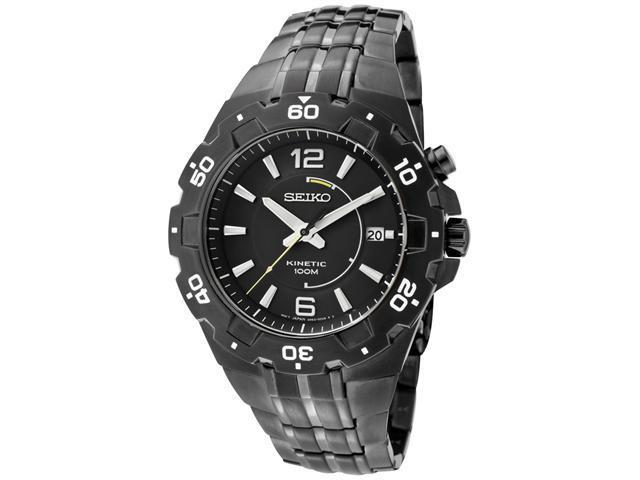 Seiko Mens Kinetic Black Dial Gunmetal Ion Plated Stainless Steel