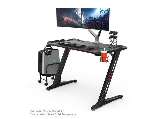 Eureka Ergonomic Z1 S Gaming Desk With Led Lights Controller Stand Cup Holder Headphone Hook Black