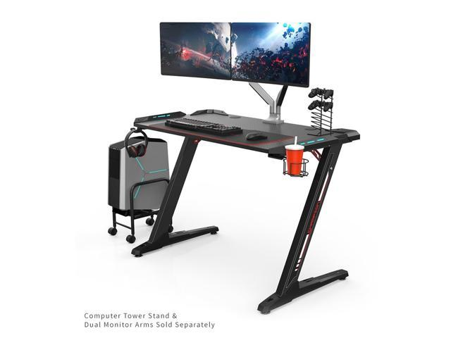 Stupendous Eureka Ergonomic Z1 S Gaming Desk With Led Lights Controller Stand Cup Holder Headphone Hook Black Machost Co Dining Chair Design Ideas Machostcouk