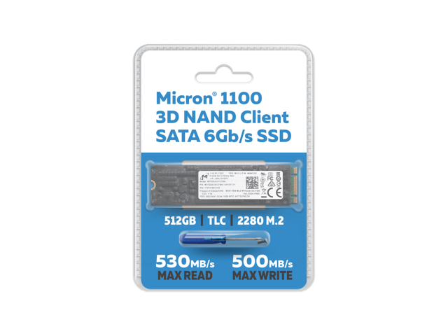 Micron 1100 512GB TLC 3D NAND SATA III (6Gb/s) 80mm (2280SS) M 2 Client SSD  with Conformal Coating - FIPS 140-2 Level 2 Validated SED -