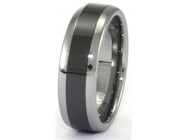 Tungsten Carbide Ring 8MM Faceted White Mother of Pearl MOP Inlay Size 13