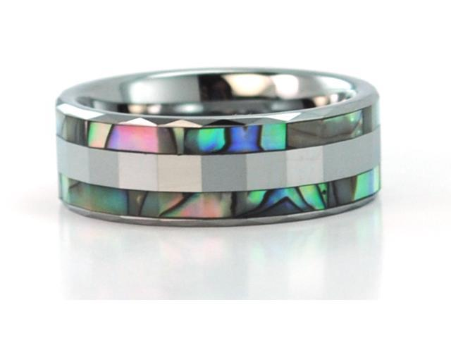 06a0784c30e7d 8mm Wide Faceted Tungsten Carbide Ring With Mother Of Pearl Inlays -  Newegg.com