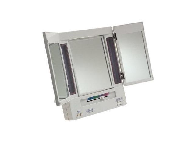 Jerdon Jgl9w 5x Magnification Tri Fold Lighted Mirror