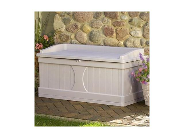 Suncast Db9500 99 Gallon Deck Box With Seat Light Taupe Newegg Com