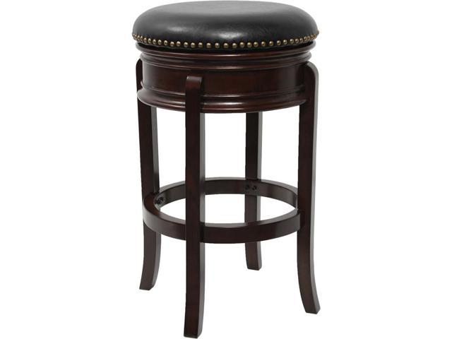 29 High Backless Cappuccino Wood Barstool With Carved