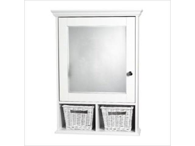 Zenith Products Th22ww Wood Medicine Cabinet Withbaskets In White And Beveled Mirror Newegg Com
