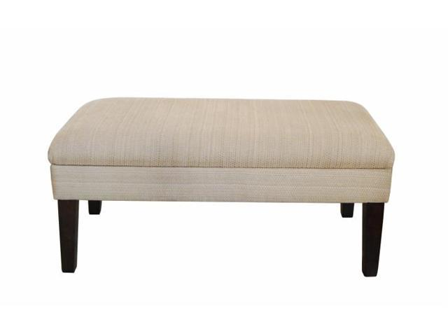 Kinfine Usa Inc N6302 F851 Decorative Storage Bench Textured Tan With Gold Chenille