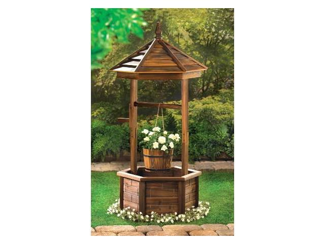 Zingz Thingz 57070006 Rustic Wishing Well Natural Wood Garden