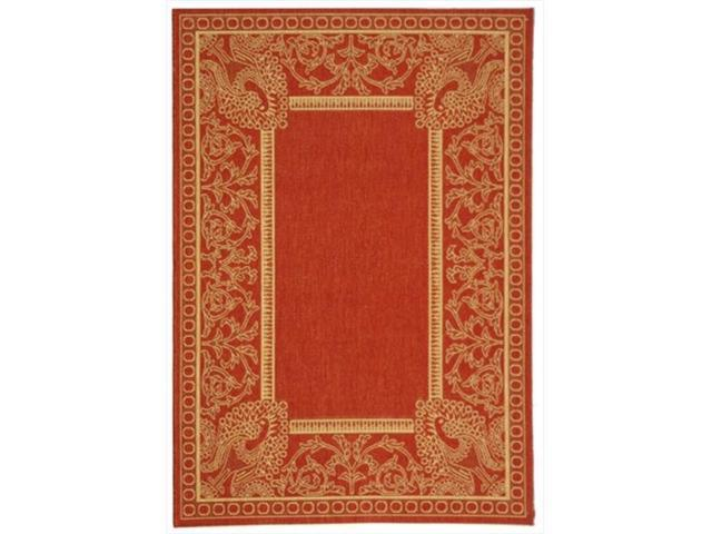 Safavieh Cy2965 3707 8 7 Ft 10 In X 11 Large Rectangle Indoor Outdoor Courtyard Red And Natural Machine Made Rug