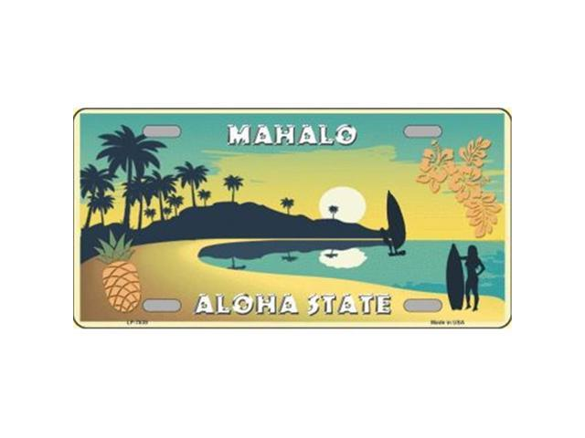 Smart Blonde LP 7839 Mahalo Pineapple Hawaii Blank State Background Novelty Metal License Plate