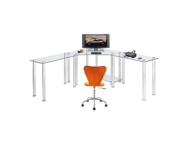 RTA Home and Office CT-013LR Clear Tempered Glass Corner Computer Desk with  Left and Right Extention tables