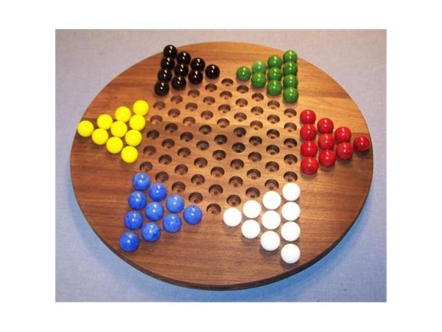The Puzzle Man Toys W 1926 Wooden Marble Game Board Chinese Checkers Oiled 18 In Circle Black Walnut Neweggcom