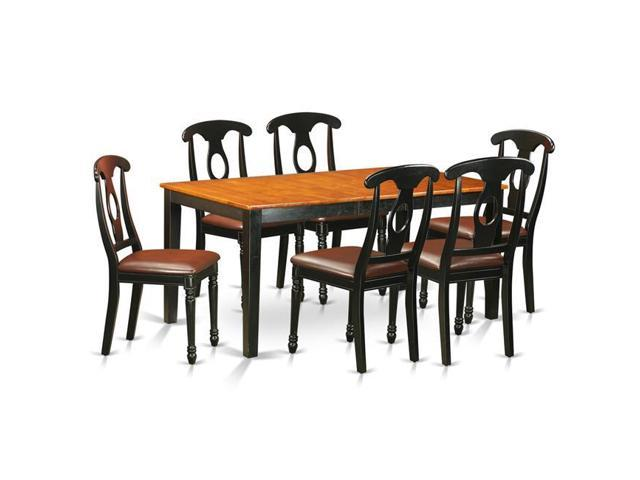 East West Furniture NIKE7-BCH-LC Faux Leather Kitchen Table Set - Dining  Table & 6 Chairs, Black & Cherry - 7 Piece - Newegg.com