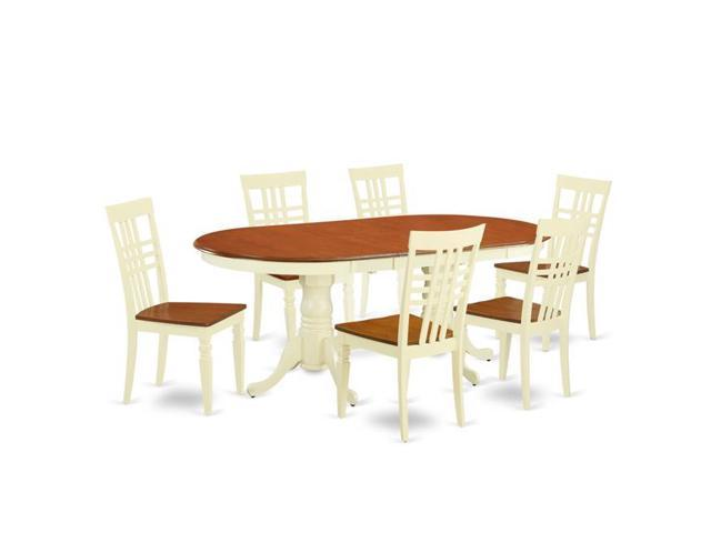 East West Furniture Pvlg7 Bmk W Table Set With One Plainville Dining Room Six Chairs Ermilk Cherry 7 Piece