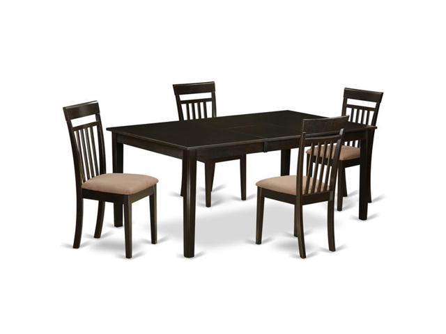 East West Furniture HECA5-CAP-C Formal Dining Room Set - Table with Leaf &  4 Chairs - 5 Piece