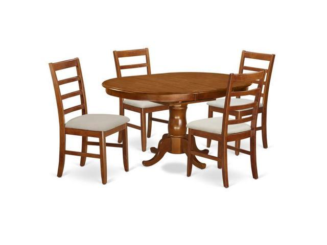 East West Furniture Popf5 Sbr C Microfiber Set Portland Dining Table With Leaf Four Upholstered Seat Chairs Saddle Brown 18 In 5 Piece