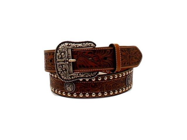 Ariat A1024802 34 15 In Mens Floral Overlay Tooled Concho Western Belt Brown Size
