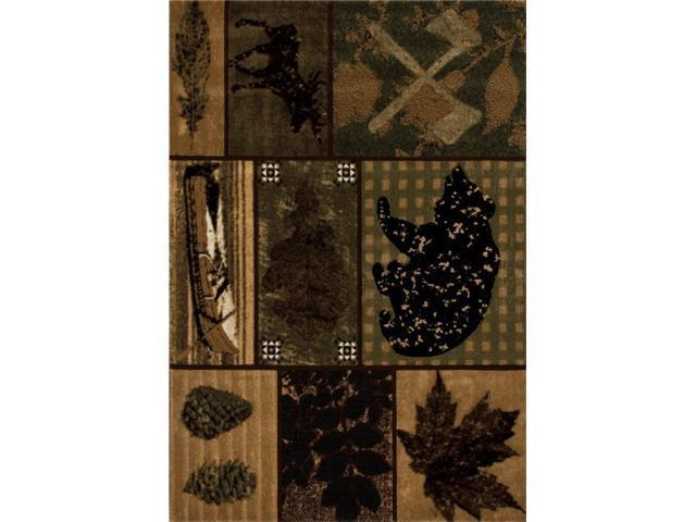 Cabin Collection Black Bear Trail Woven Area Rug Green