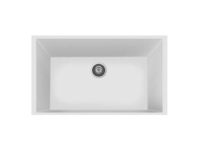 LaToscana ON8410ST-58 19.5 in. One Undermount Granite Composite Single Bowl  Kitchen Sink, Milk White