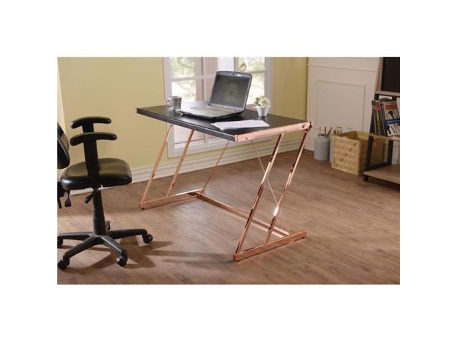 Benzara Bm163553 Metal Rectangular Writing Desk With Usb Dock Black Rose Gold Newegg