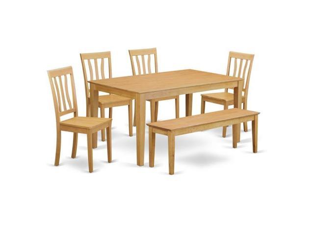 East West Furniture CAAN6-OAK-W Kitchen Dinette Table & 4 Room Chairs  Coupled with A Wooden Bench, Oak