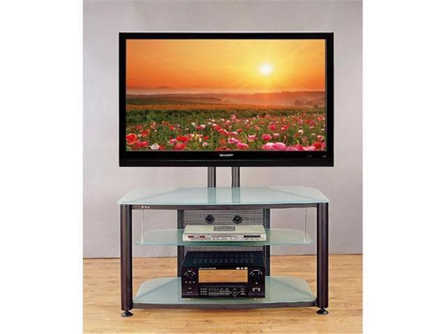 VTI Manufacturing RFR403BF Black Polesfrosted Glass Shelves Flat Panet TV &  AV Stand - Newegg com