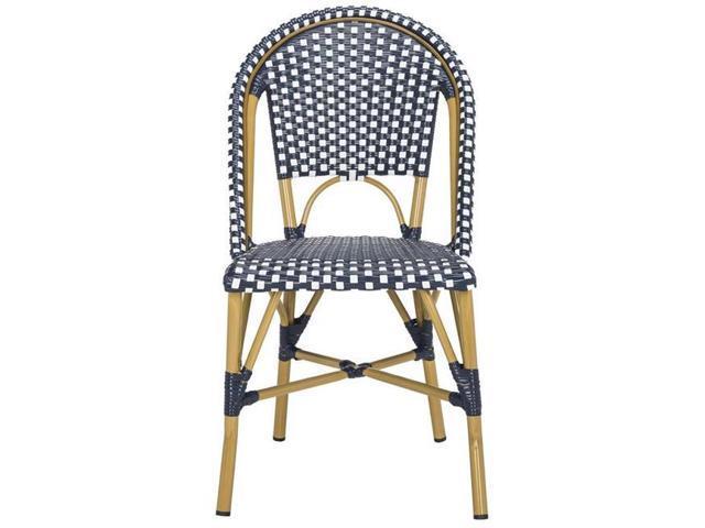 Tremendous Safavieh Fox5210F Set2 34 6 X 18 X 21 6 In Salcha Indoor Outdoor French Bistro Stacking Side Chair Navy White Newegg Com Inzonedesignstudio Interior Chair Design Inzonedesignstudiocom