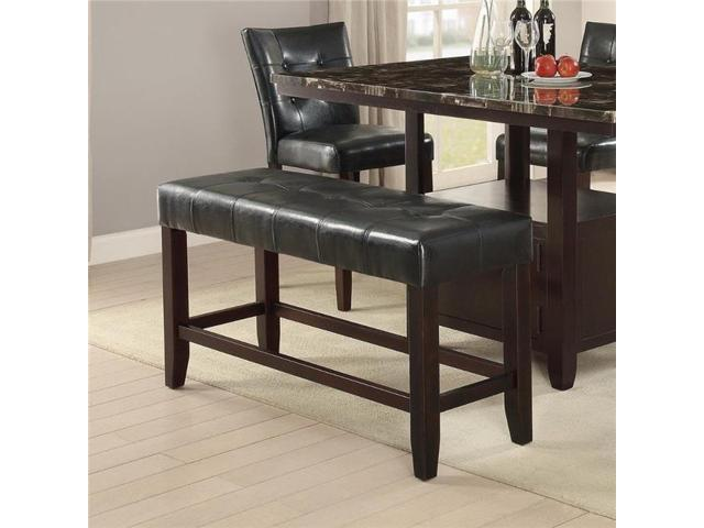 Pleasing Benzara Bm171257 26 X 16 X 48 In Wood Based High Bench With Tufted Seat Black Brown Newegg Com Bralicious Painted Fabric Chair Ideas Braliciousco