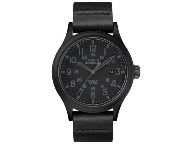Timex TW4B142009J 40 mm Mens Expedition Scout Leather & Nylon Strap Watch, Black