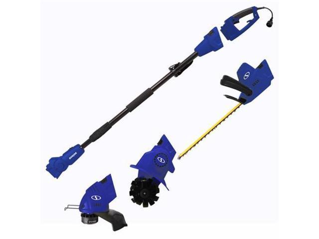 Sun Joe GTS4000E-SJB Electric Lawn Care System, Pole Hedge Trimmer, Grass Trimmer & Garden Tiller - Blue