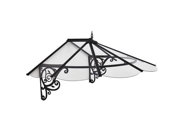 Palram HG9575 Lily Door Awning - Clear & Black - 49 x 69 x 31 in  -  Newegg ca