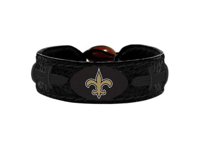 Wear 3705705701 New Orleans Saints Football Leather Bracelet Tonal Black