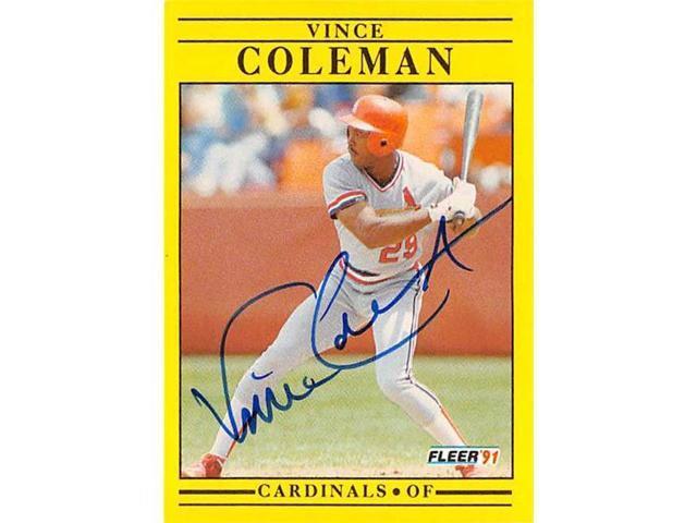 Autograph Warehouse 528381 Vince Coleman Autographed Baseball Card St Louis Cardinals 67 1991 Fleer No629 Neweggcom
