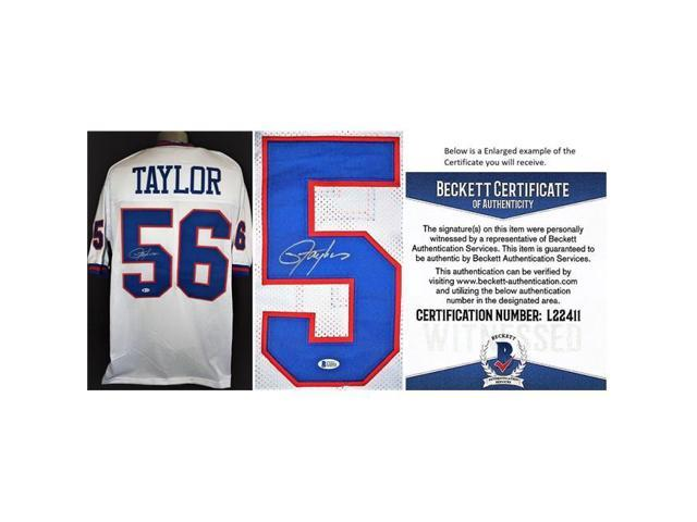 free shipping 02e1c faa5f Real Deal Memorabilia LTaylorWJ-1-BAS Lawrence Taylor Signed Autograph  Custom White Jersey with Witnessed Beckett Authentication Certificate of ...