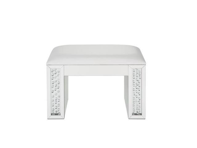Magnificent Benzara Bm185923 Mirrored Rectangular Wooden Vanity Stool With Padded Seat Ivory Silver 19 29 X 14 96 X 26 38 In Pdpeps Interior Chair Design Pdpepsorg