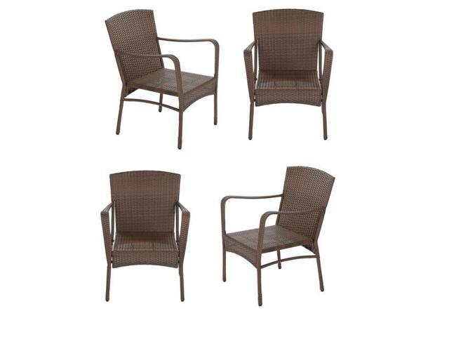 Incredible W Unlimited Sw1616 4Ch Leisure Brown Wicker Outdoor Lounge Chair Set 4 Piece Bralicious Painted Fabric Chair Ideas Braliciousco