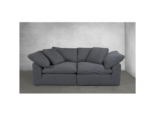 Admirable Sunset Trading Su 1458Sc 94 2C Cloud Puff Modular Large Loveseat Slipcover Configurable Sofa Furniture Cover Performance Fabric Grey 2 Piece Short Links Chair Design For Home Short Linksinfo