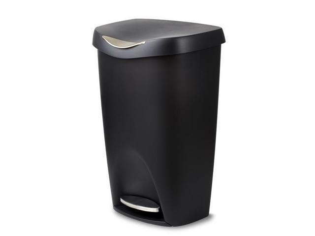 Umbra 084200-047 13 gal Brim Large Kitchen Trash Can with Stainless Steel  Foot Pedal - Black